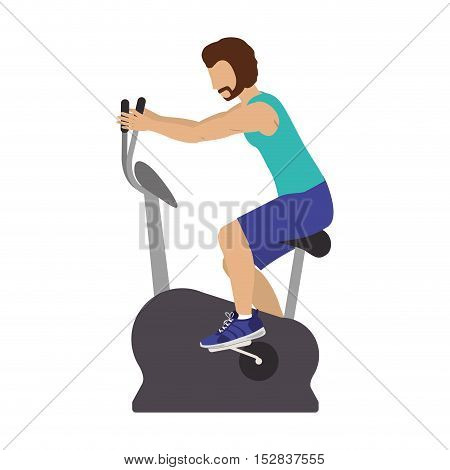 man training on static bicycle gym equipment. fitness lifestyle design. vector illustration