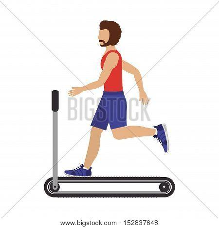 man training on running band gym equipment. fitness lifestyle design. vector illustration