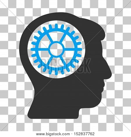 Blue And Gray Head Cogwheel interface pictogram. Vector pictograph style is a flat bicolor symbol on chess transparent background.