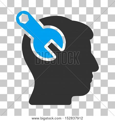 Blue And Gray Head Neurology Wrench interface icon. Vector pictogram style is a flat bicolor symbol on chess transparent background.