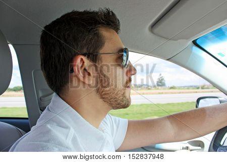 Man driving the car