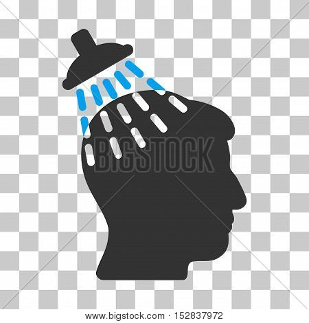 Blue And Gray Head Shower interface toolbar pictogram. Vector pictograph style is a flat bicolor symbol on chess transparent background.