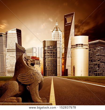 Highway leading to the Shanghai Lujiazui financial district