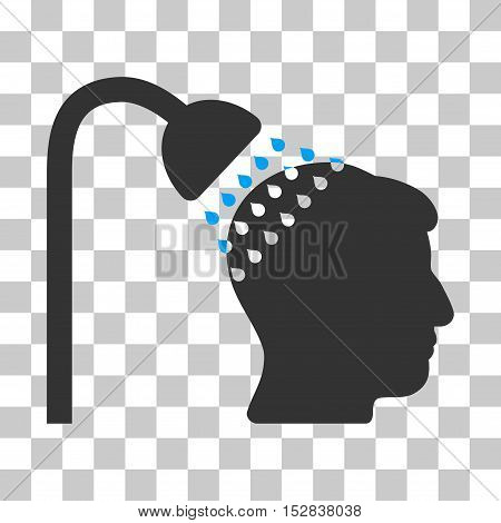 Blue And Gray Head Shower toolbar pictogram. Vector pictogram style is a flat bicolor symbol on chess transparent background.