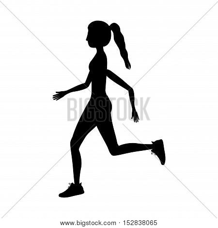 silhouette woman running  over white background. fitness lifestyle design. vector illustration