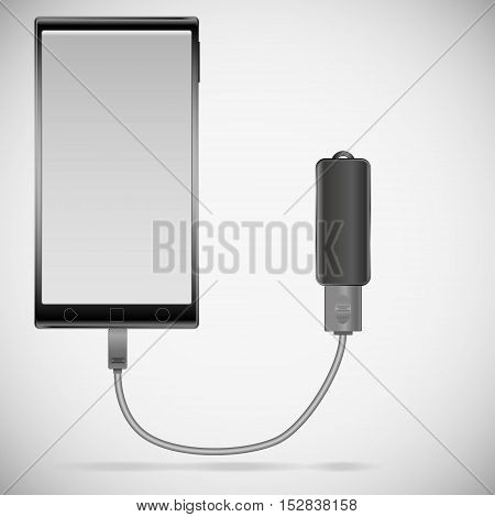 illustration of a black smartphone with gradient gray screen with a black memory stick connected with a cord with a shadow on a gray gradient background.