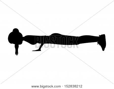 silhouette woman stretching over white background. fitness lifestyle design. vector illustration