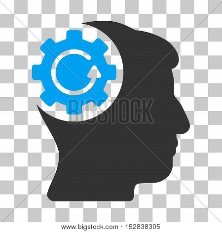 Blue And Gray Intellect Gear Rotation toolbar icon. Vector pictogram style is a flat bicolor symbol on chess transparent background.