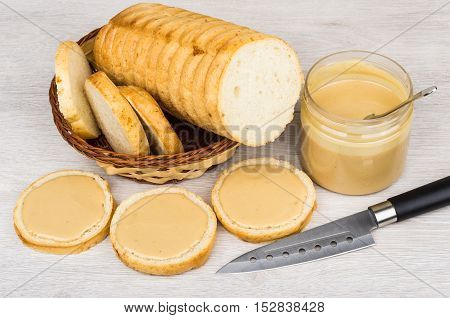 Sandwiches With Peanut Butter, Plastic Jar, Bread And Knife