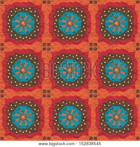 Seamless texture pattern on orange crumpled paper