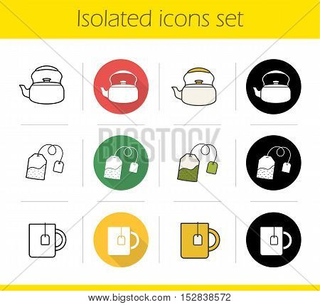 Tea icons set. Flat design, linear, black and color styles. Classic kettle, green teabag, mug with tea bag label. Isolated vector illustrations