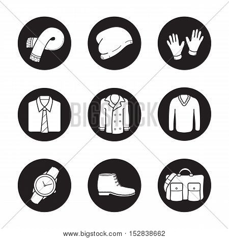 Men's clothes and accessories icons set. Scarf, winter hat, gloves, shirt and tie, coat, sweater, wrist watch, boot, handbag. Vector white illustrations in black circles