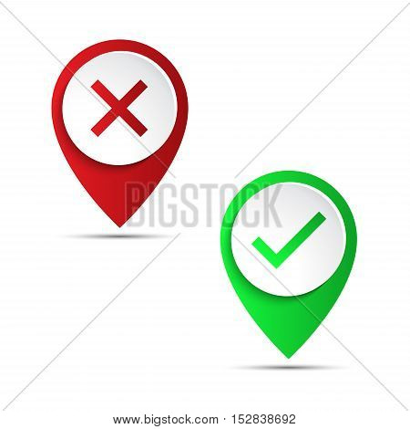 Red and green 3d pointer with confirmation and rejection icon vector illustration