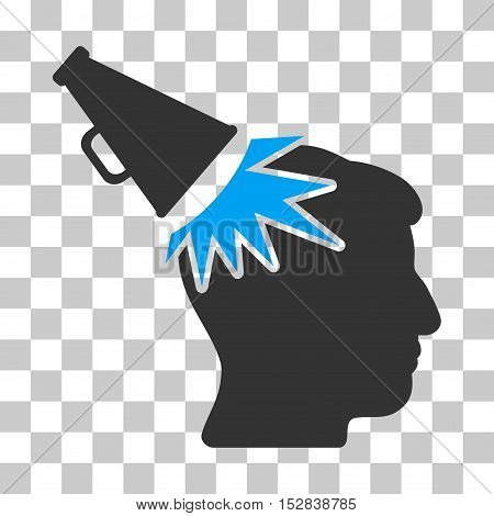 Blue And Gray Megaphone Impact Head interface pictogram. Vector pictograph style is a flat bicolor symbol on chess transparent background.
