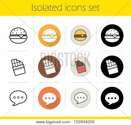 Food icons set. Flat design, linear, black and color styles. Burger, bitten chocolate bar and chat bubble. Fastfood and sweets. Isolated vector illustrations