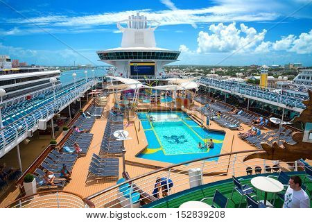 Nassau Bahamas - September 7th 2016: Active Pool Deck of the Royal Caribbean Majesty Of The Sea docked at Nassau Bahamas on September 7th 2016