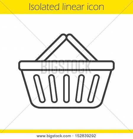 Supermarket basket linear icon. Thin line illustration. Contour symbol. Vector isolated outline drawing