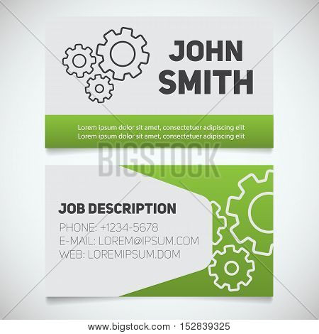 Business card print template with gears logo. Easy edit. Mechanic. Cogwheels. Stationery design concept. Vector illustration