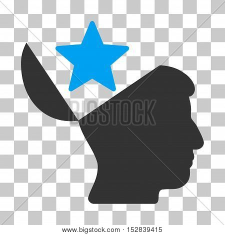Blue And Gray Open Head Star interface icon. Vector pictograph style is a flat bicolor symbol on chess transparent background.
