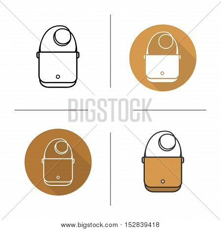 Shoulder bag icon. Flat design, linear and color styles. Laptop bag. Isolated vector illustrations
