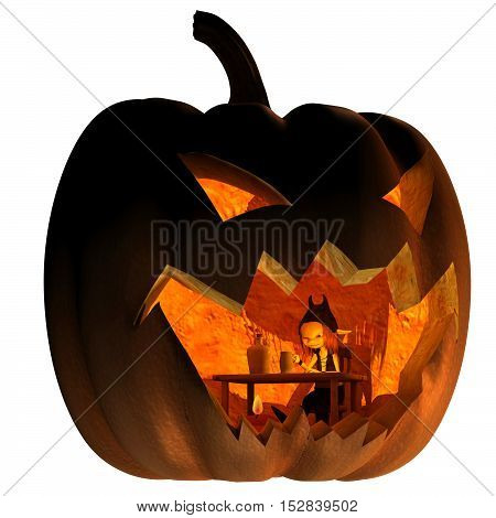 Fantasy illustration of a tiny goblin creature living inside a Halloween pumpkin lantern, digital illustration (3d rendering)