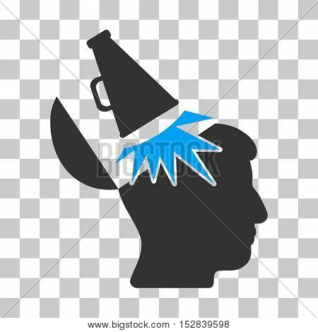 Blue And Gray Open Mind Megaphone interface pictogram. Vector pictograph style is a flat bicolor symbol on chess transparent background.