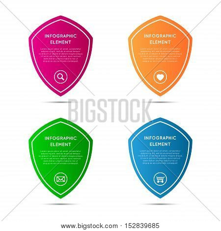 Set of simple pointers in the shape of a shield vector elements for your infographic