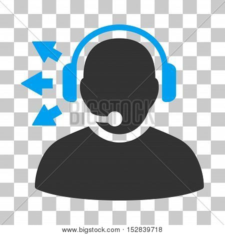 Blue And Gray Operator Answer Speech interface pictogram. Vector pictogram style is a flat bicolor symbol on chess transparent background.