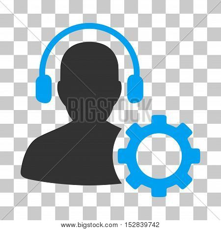 Blue And Gray Operator Configuration Gear toolbar icon. Vector pictograph style is a flat bicolor symbol on chess transparent background.