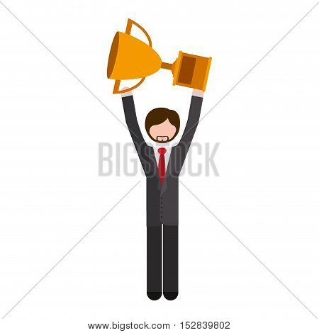 avatar businessman wearing suit and tie with arms up holding a trophy over white background. vector illustration