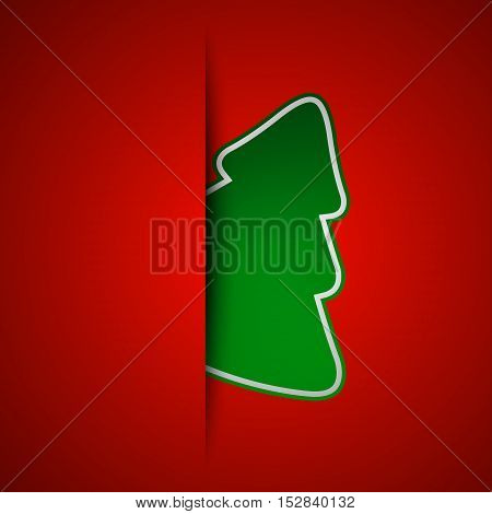 Simple vector christmas tree on red background holiday card