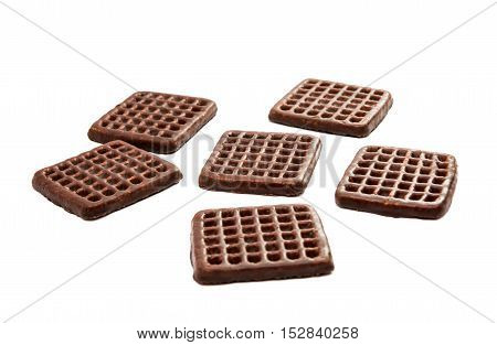 biscuits with chocolate glaze on a white background