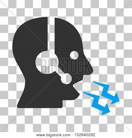 Blue And Gray Operator Shout interface toolbar icon. Vector pictograph style is a flat bicolor symbol on chess transparent background.