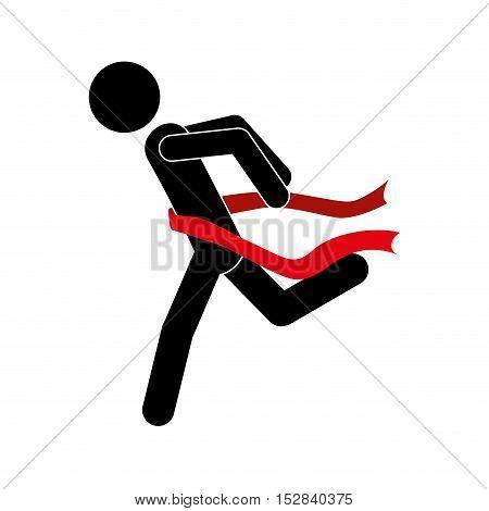 avatar man running passing a winner red ribbon over white background. vector illustration