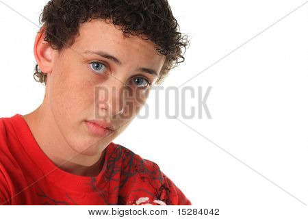 Teenage boy, isolated on white.