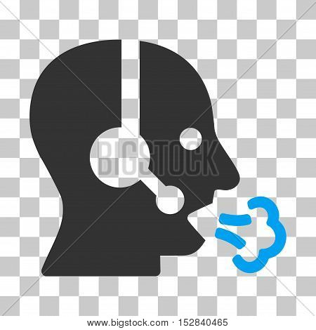 Blue And Gray Operator Speech toolbar pictogram. Vector pictogram style is a flat bicolor symbol on chess transparent background.