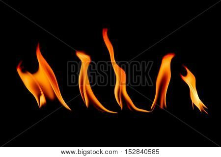 Fire abstract and flames shapes isolated on a black