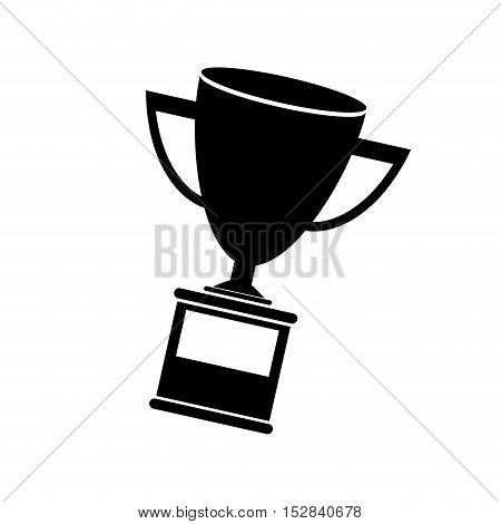 trophy cup award icon silhouette over white background. vector illustration