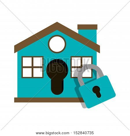 blue house with padlock icon. security system design. colorful design. vector illustration
