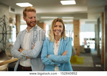 Business colleagues working together in an office.