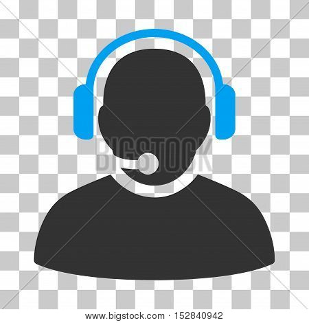 Blue And Gray Operator interface toolbar icon. Vector pictogram style is a flat bicolor symbol on chess transparent background.