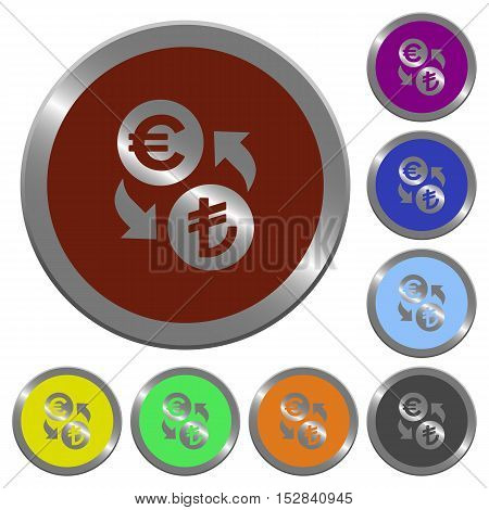 Set of color glossy coin-like Euro Lira exchange buttons