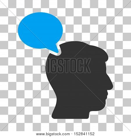 Blue And Gray Person Opinion interface toolbar pictogram. Vector pictogram style is a flat bicolor symbol on chess transparent background.