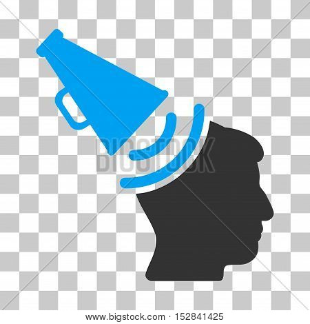 Blue And Gray Propaganda Megaphone toolbar icon. Vector pictogram style is a flat bicolor symbol on chess transparent background.