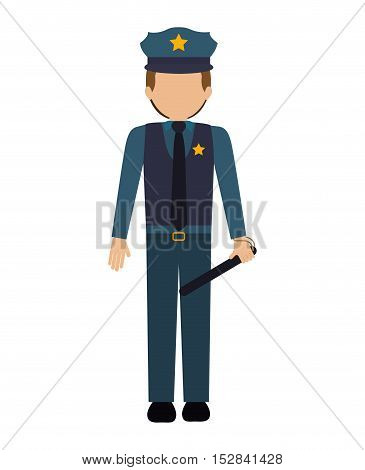 avatar policeman. officer cop wearing uniform over white background. vector illustration