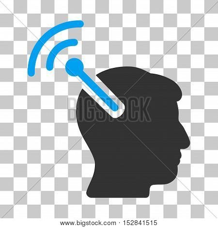 Blue And Gray Radio Neural Interface toolbar icon. Vector pictograph style is a flat bicolor symbol on chess transparent background.