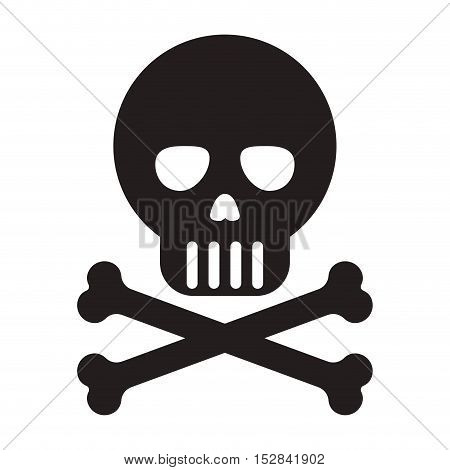 skull with bones crossed icon. danger and precaution symbol. vector illustration