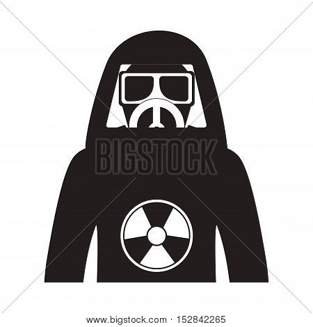 industrial security nuclear suit protection equipment over white background. vector illustration