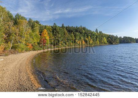 Sandy Shoreline Of A Lake In Autumn - Ontario, Canada