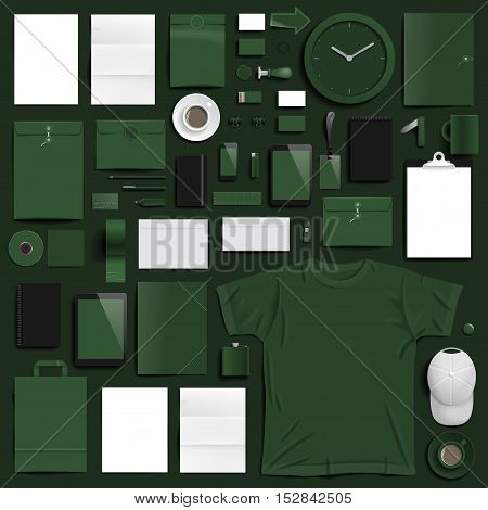 Corporate identity template on dark green background. Use layer
